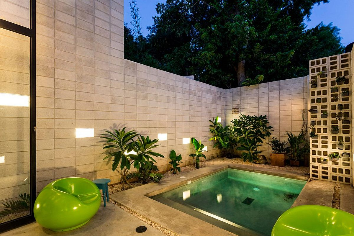 Small pool also helps in cooling down the house on hot days