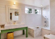 Smart, custom vanity lets you tuck away the stool underneath
