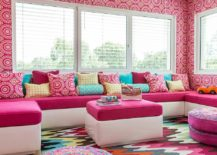 Snazzy multi-colored rug looks great even in neutral kids' rooms