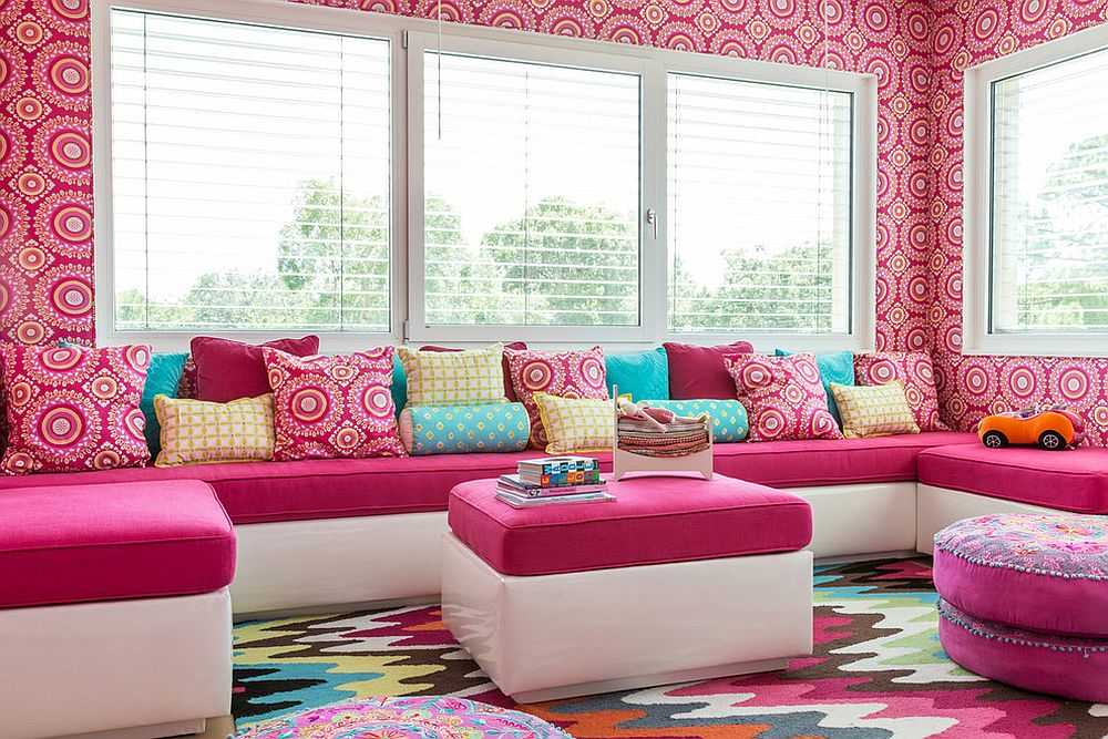 Snazzy multi-colored rug looks great even in neutral kids' rooms [Design: Valorie Hart]