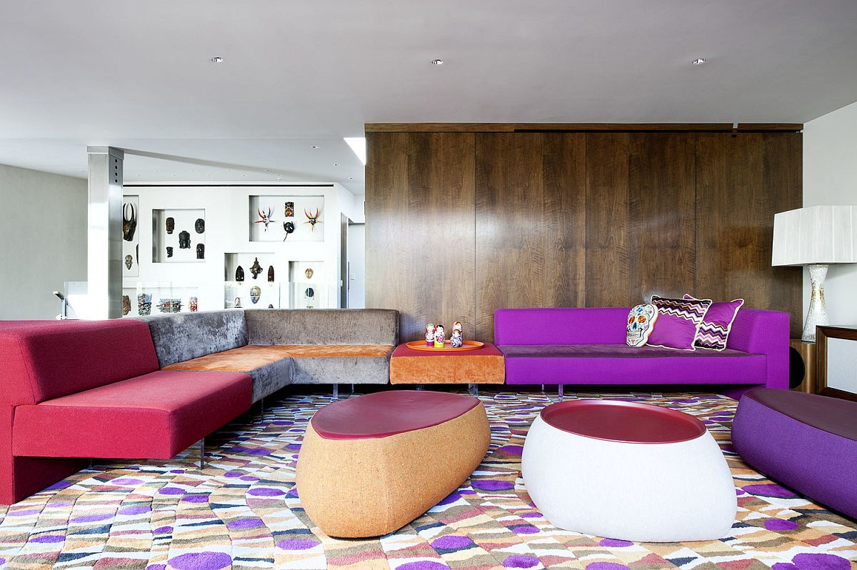 Spacious and striking sitting area with custom decor by Vladimir Kagan