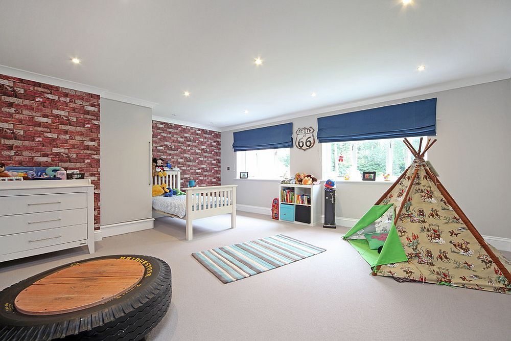 spacious kids bedroom with ample room for play area and exposed brick wall design - Bedroom Play Ideas