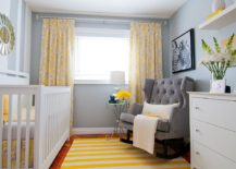 Striped rug adds brightnes to the transitional nursery