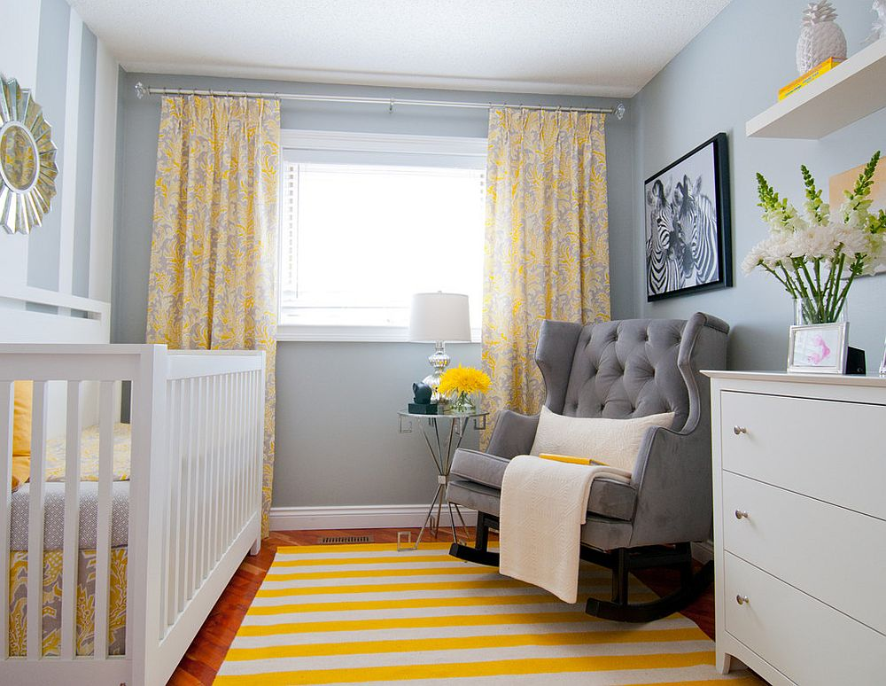 Striped rug adds brightness to the transitional nursery [Design: Alykhan Velji Design / Bookstrucker Photography]