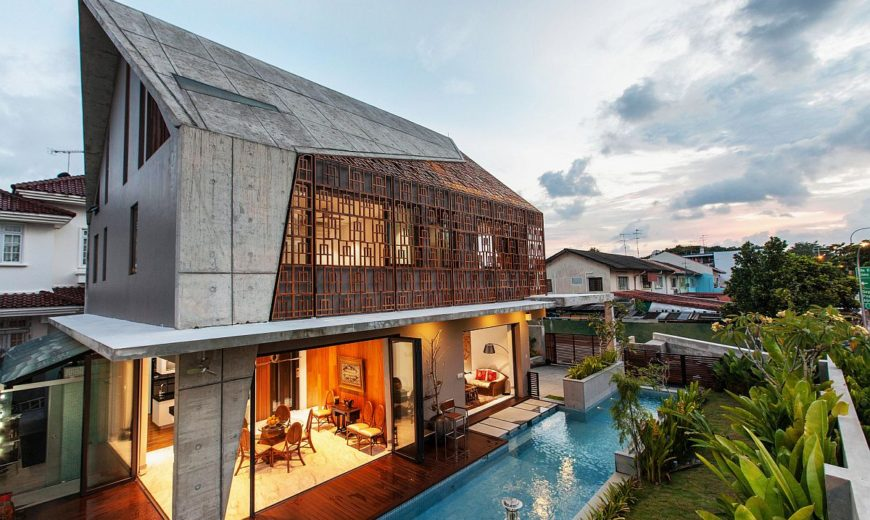 Concrete, Teak and Nifty Design: Vibrant Residence in Singapore