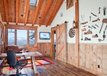 Stunning mountain views and rustic cabin style shape this lovely home office 217x155 Space Savers at Work: 20 Home Offices with Sliding Barn Doors