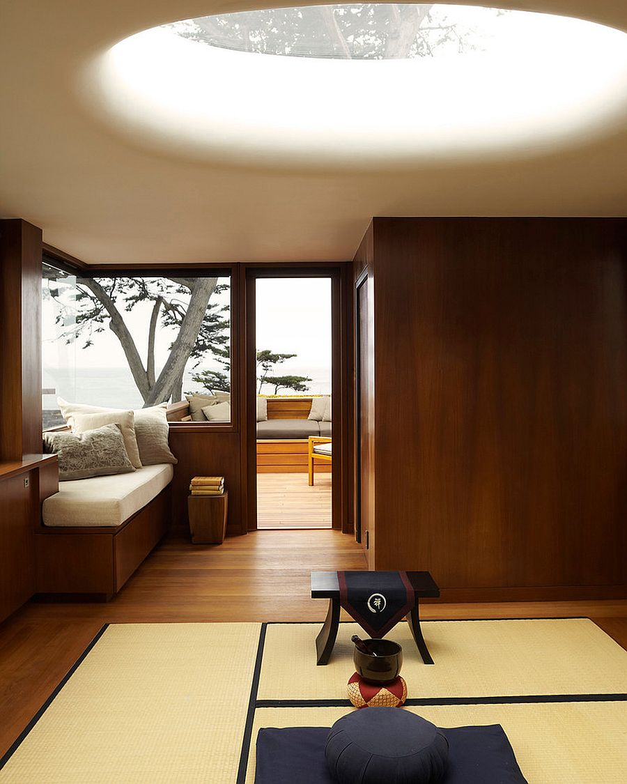 Stunning use of skylight for the Asian style Meditation room [From: Dirk Denison Architects / David Matheson Photography]