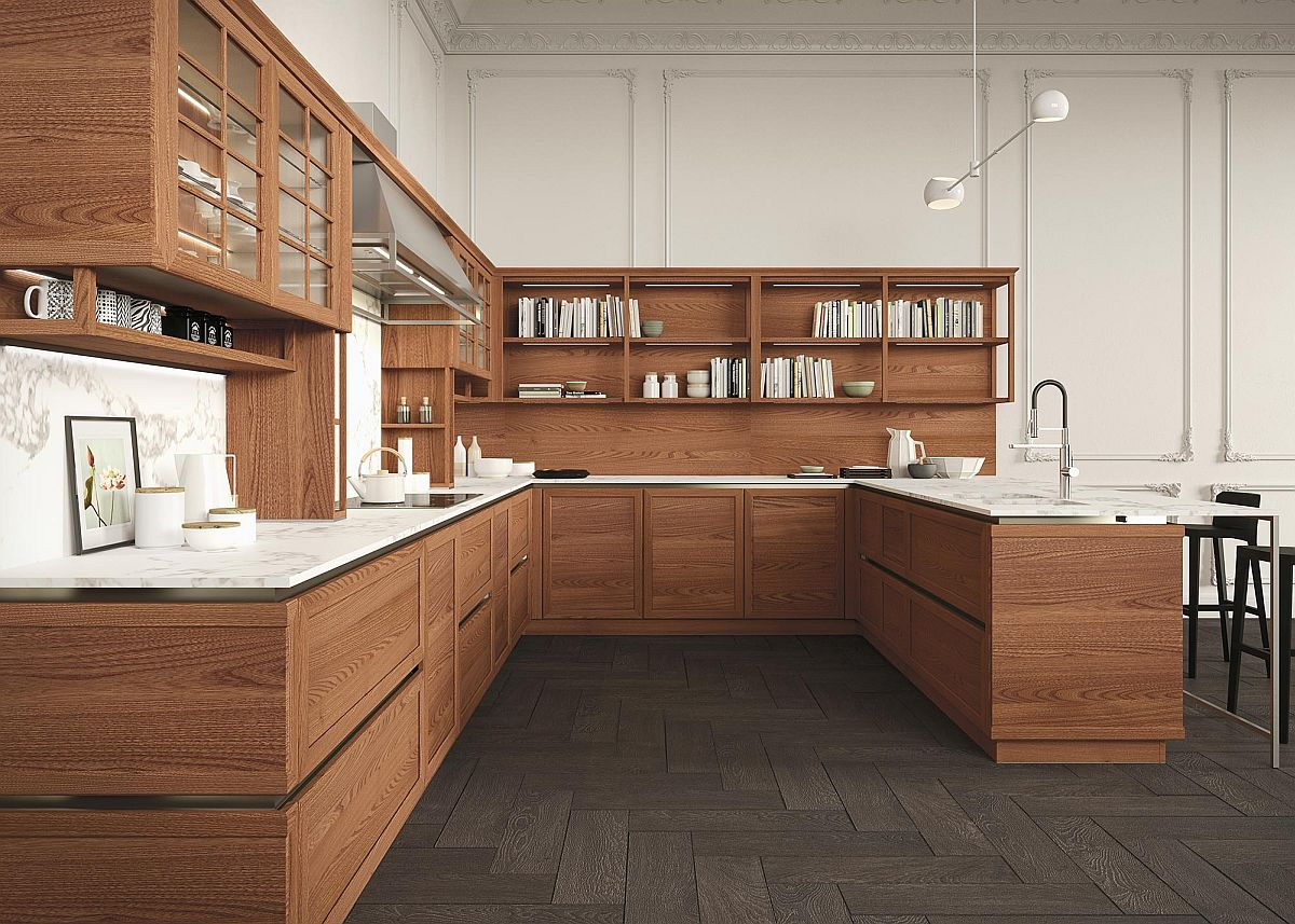 Sturdy bottom shelves coupled with breezy and open top units to create the lovely Heritage kitchen