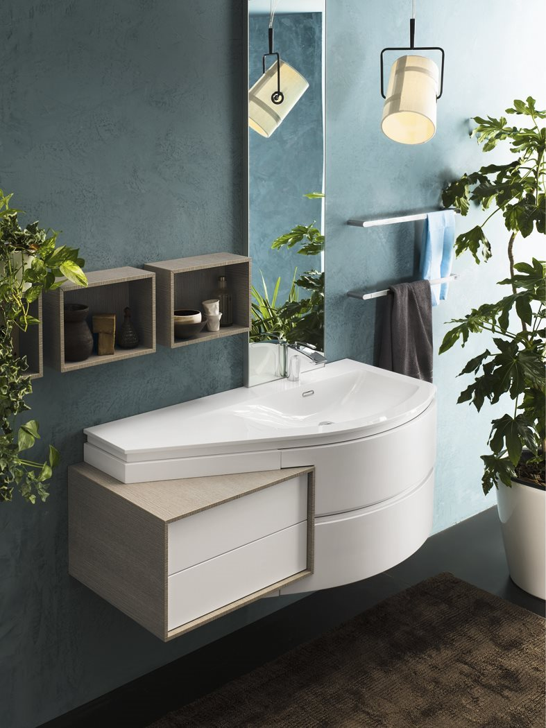 Stylish and curvy vanity units from Inda