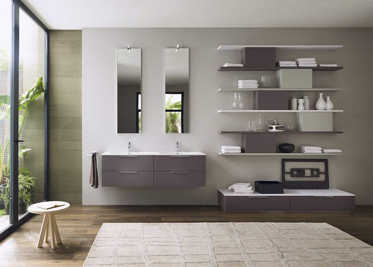 Stylish floating units offer ample storage space for all your bathroom essentials