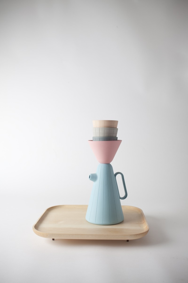 """Sucabaruca """"Pop"""" coffee serviceon a Canadian maple wood tray."""