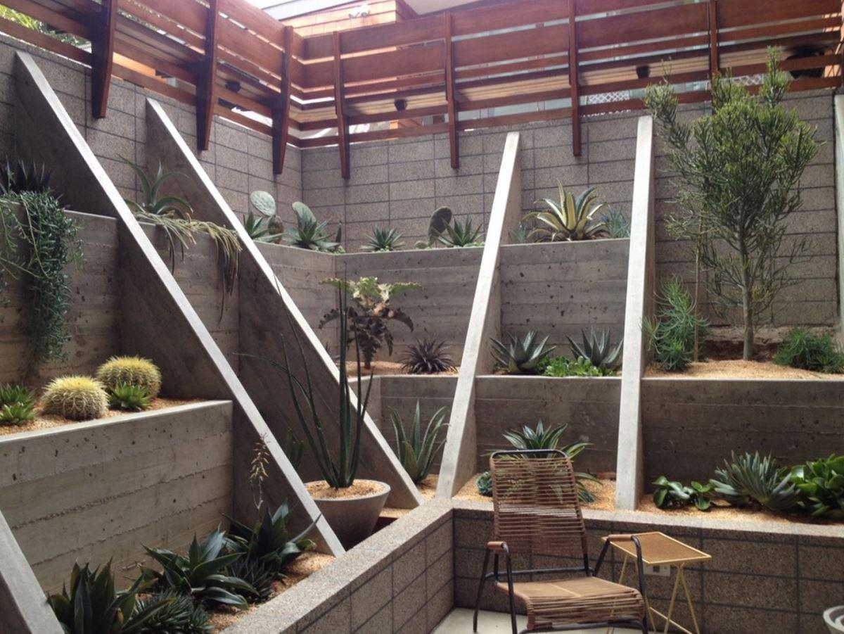 Sunken garden with succulents