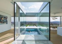 Swimming pool ventures into the interior of the home