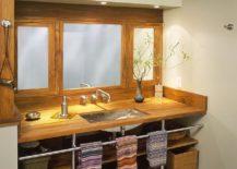 Teakwood open bathroom vanity is a space-saver