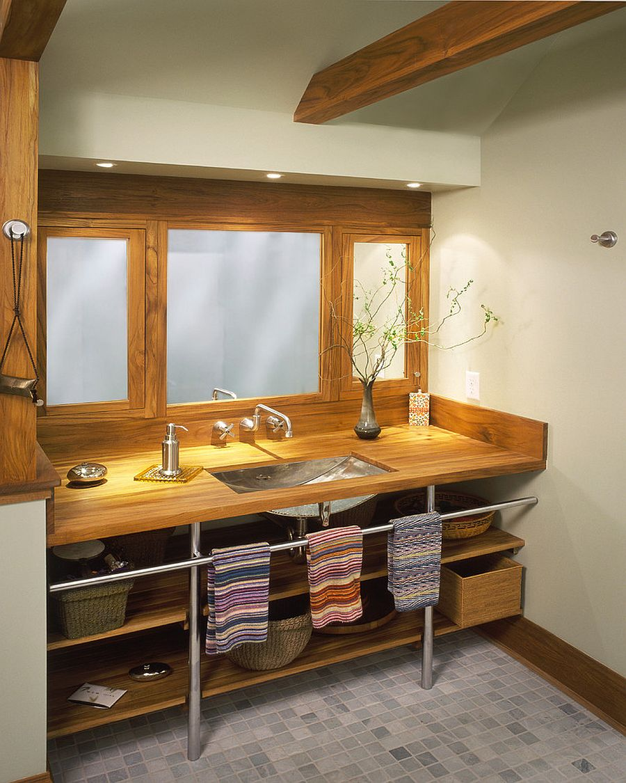 Teakwood open bathroom vanity is a space-saver [Design: TreHus Architects+Interior Designers+Builders]