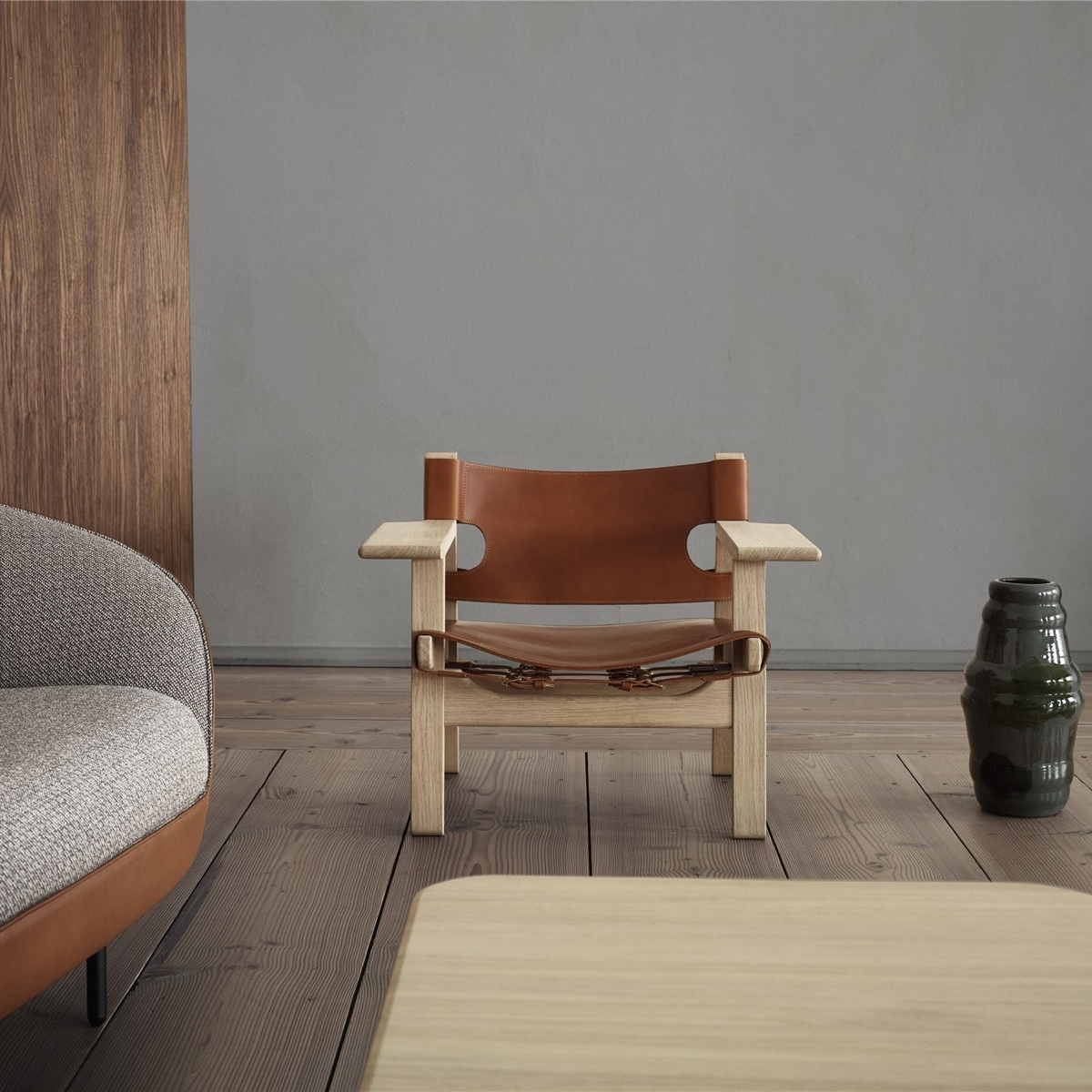 View In Gallery The Spanish Chair In Oak With Cognac Coloured Saddle Leather .