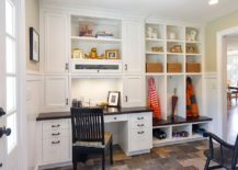 Traditional mud room with built-in shelves is a perfect space for the small home office