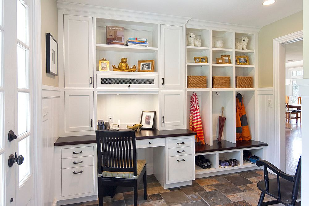 Traditional mud room with built-in shelves is a perfect space for the small home office [Design: Knight Architects LLC]