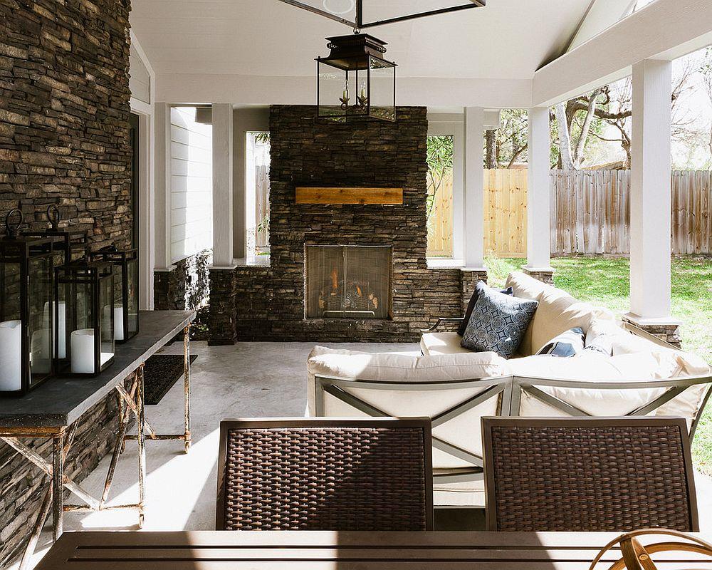 Traditional patio with large lantern lighting [Design: Jason Knebel/ Photography: Jonathan Calvert]