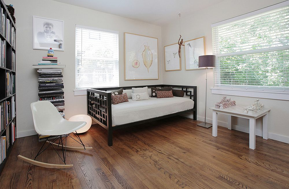 Transitional home office with daybed in the corner [From: Lindsay von Hagel]