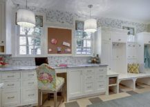 Transitional style mudroom with a lovely home workspace