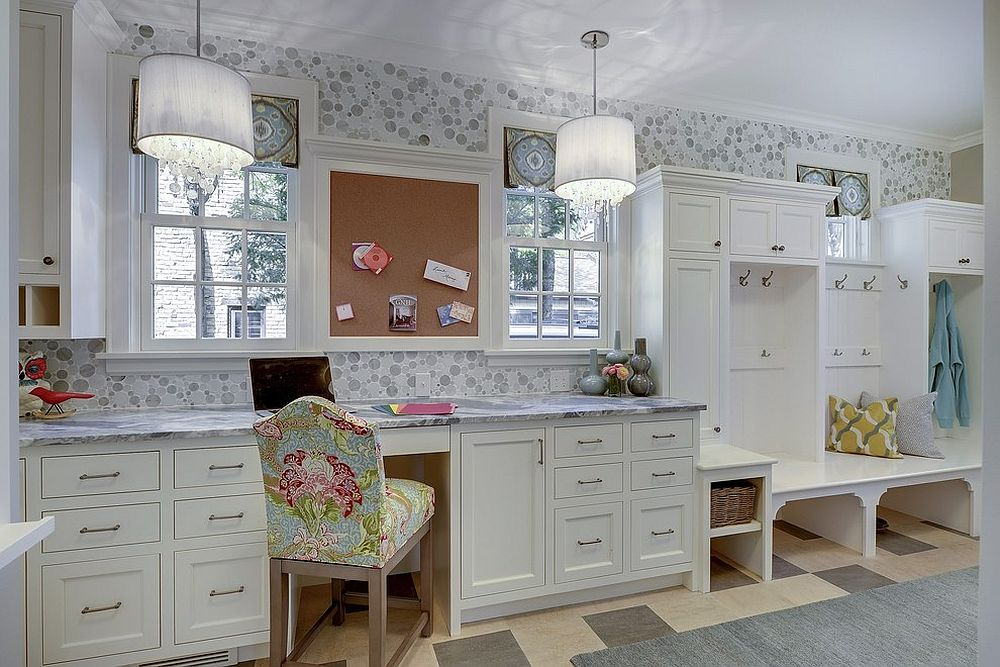 Transitional style mudroom with a lovely home workspace [Design: Great Neighborhood Homes]