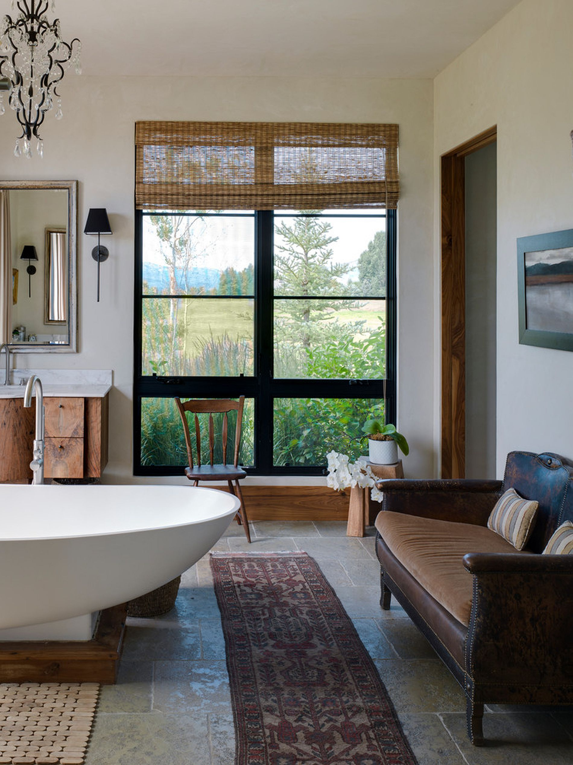 Turn the bathroom into an extension of your living space with cool décor [Design: Snake River Interiors]