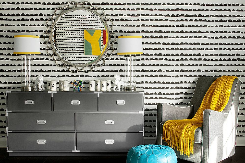 Turquoise, yellow and gray shape a stunningly elegant boys' nursery [Design: Karen B Wolf Interiors]