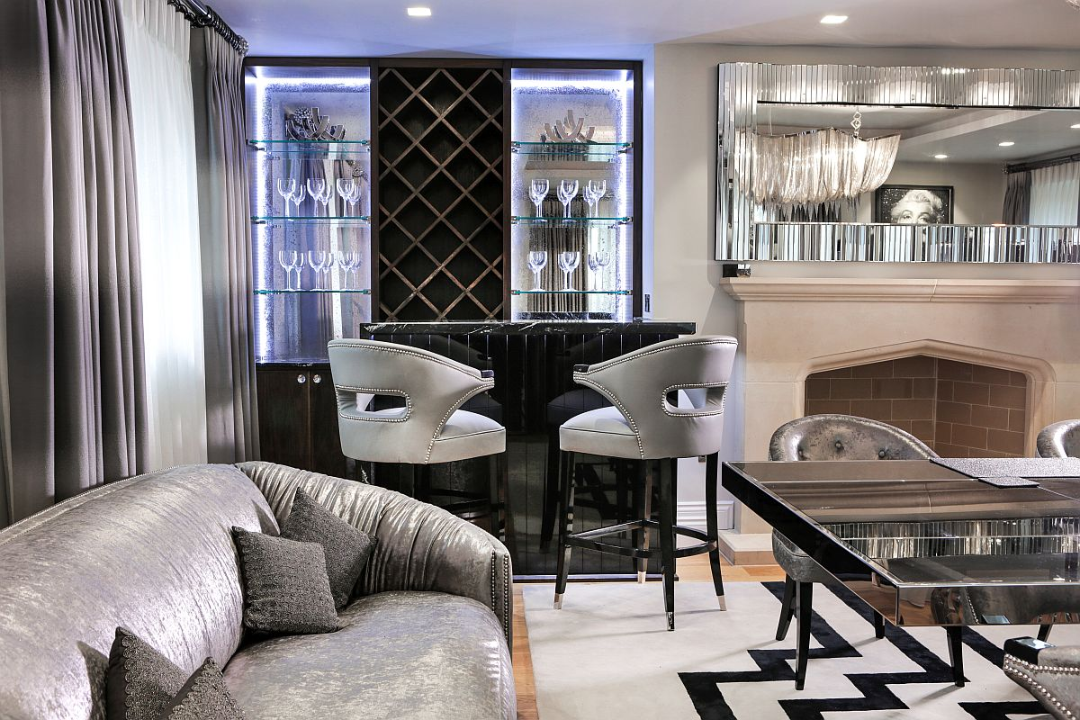 Twin NANOOK chairs in black and silver at the home bar