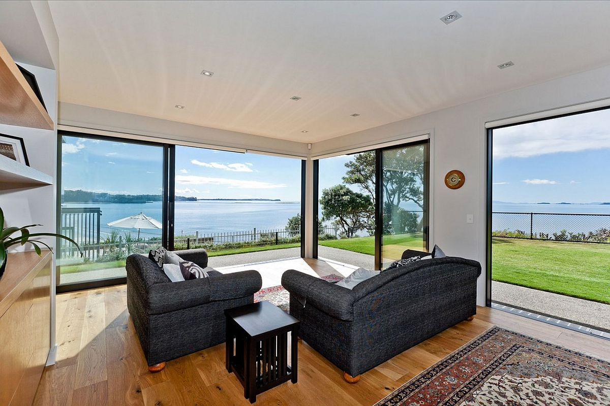 Unabated sea views from the living area of the stylish Auckland home