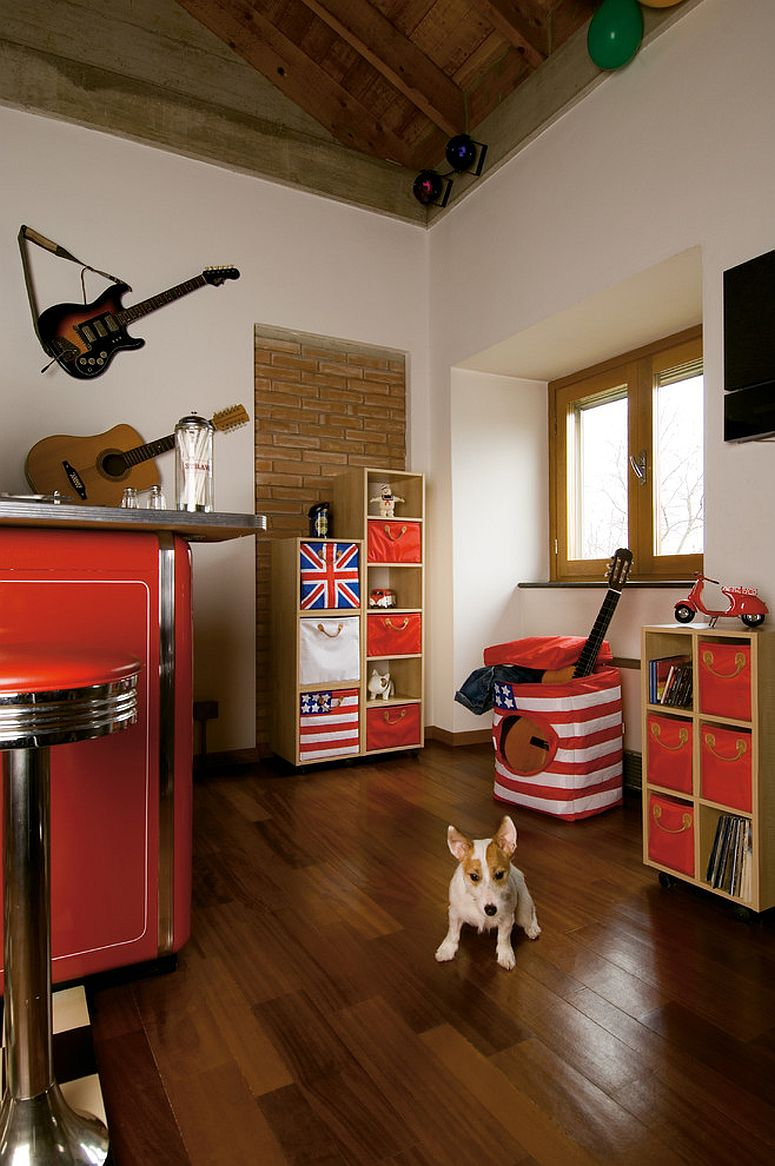 Understated exposed brick wall feature in the contemporary kids' space [Design: Lazzari USA - a brand of Foppapedretti]