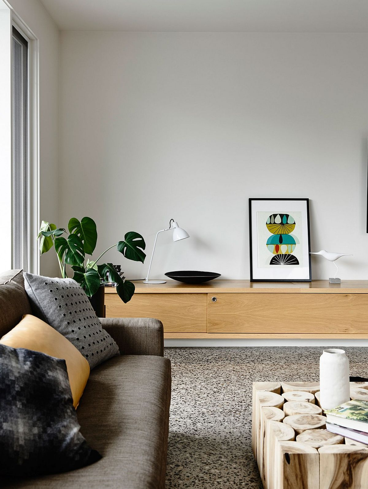 Unique coffee table and living room storage unit at the Aussie home