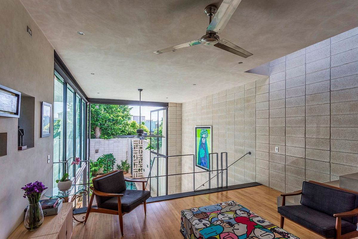 Upper level sitting area of the stylish Mexican home