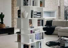 Use smart bookshelf units to delineate space in open plan living