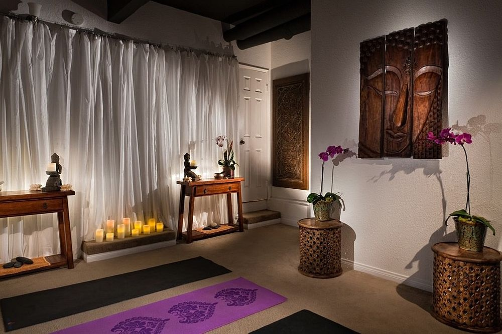Home Yoga Room Design design a studio in neutral hues with gray flooring eggshell walls and ivory shades home yoga Use The Meditation Space As A Cool Yoga Studio As Well Design Flo Design