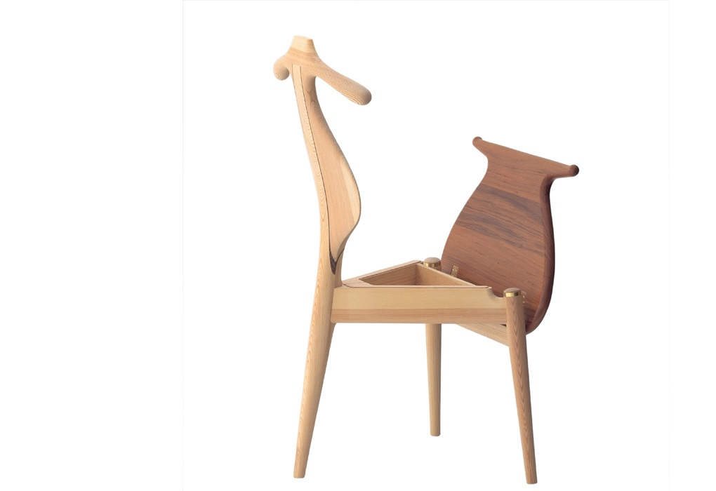 PP250 Valet Chair with its seat in an upright position, revealing the seat box.