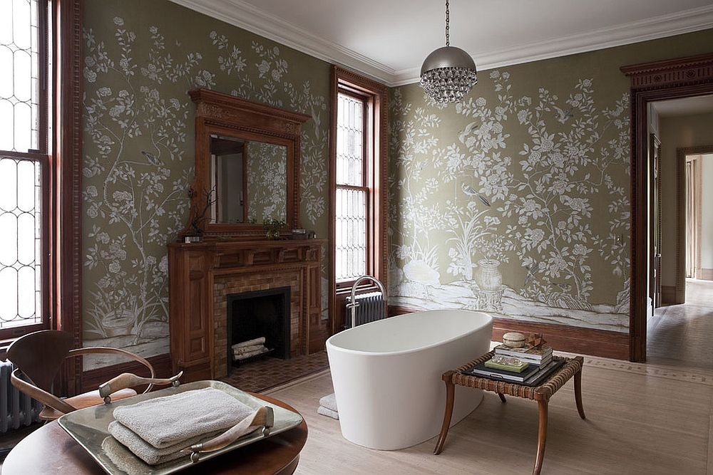 Victorian style wallpaper also serves as a relaxing and elegant personal sanctuary [FRom: Neuhaus Design Architecture / Peter Margonelli Photography]