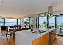 View of the living area and the stunning scenery from the kitchen