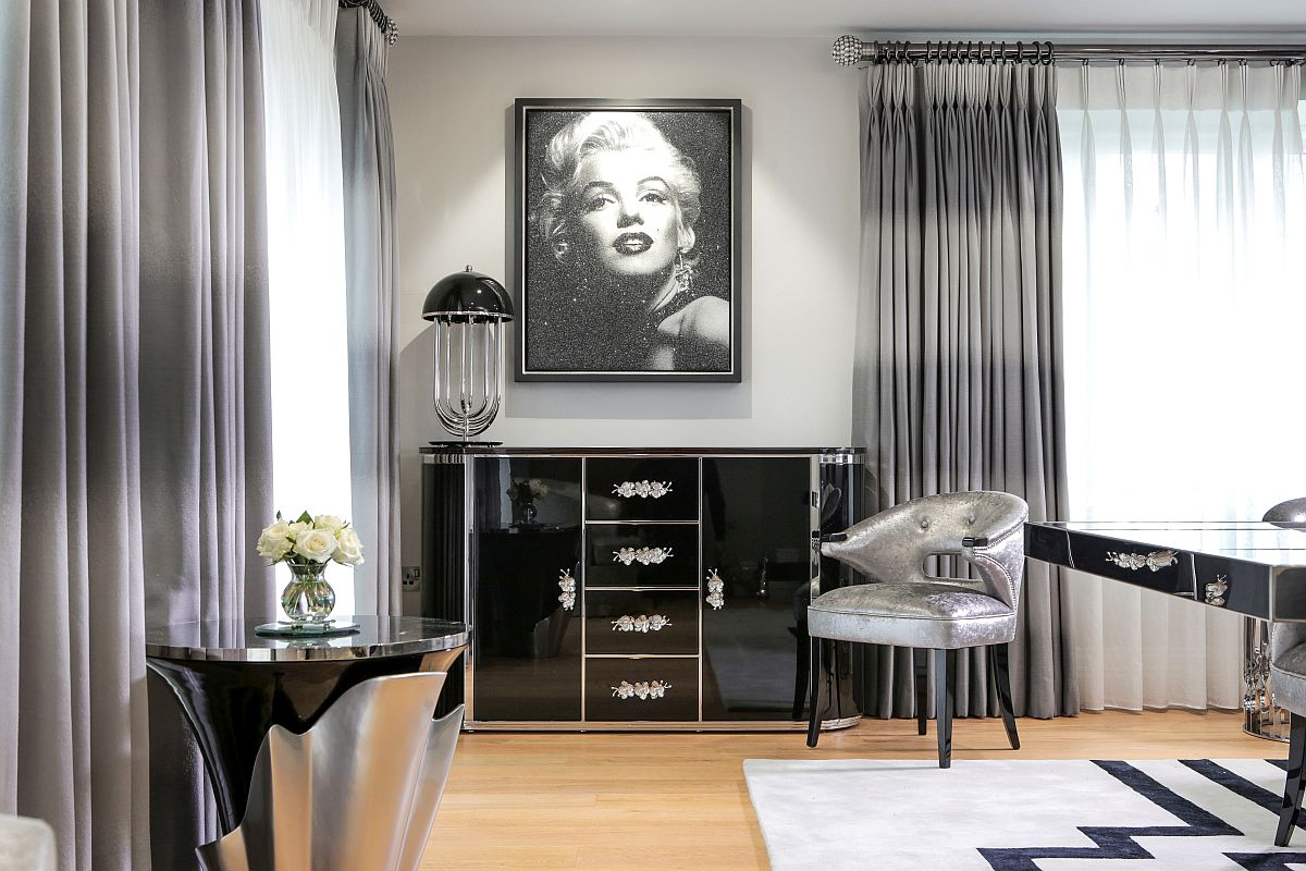 Vintage-inspired Orchidea cabinet  in black in the dining room