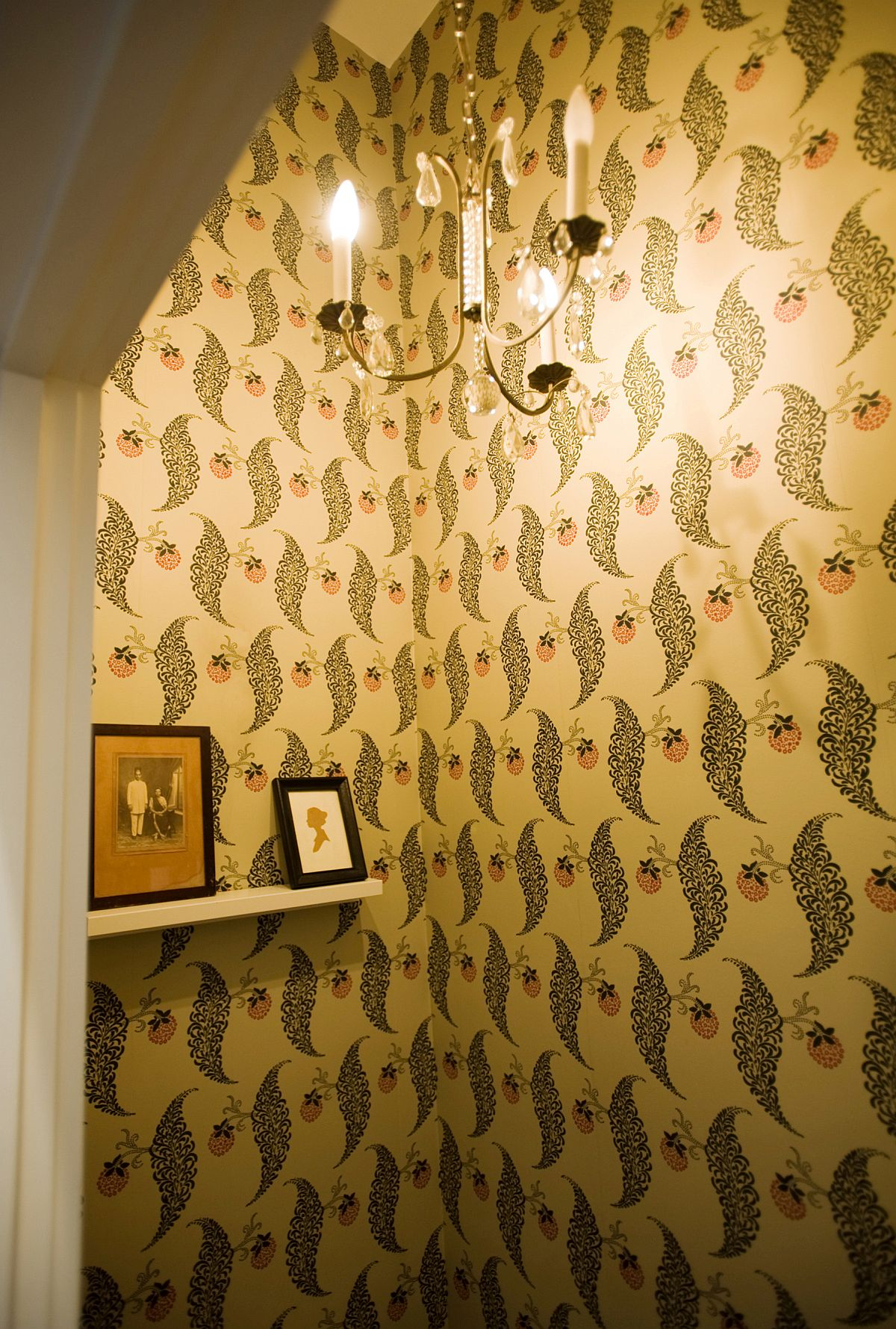 Vintage wallpaper and lighting idea for the powder room