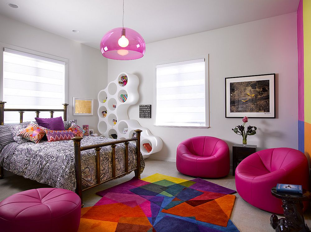 Vivacious teen girls' bedroom with multi-colored rug from Sonya Winner Rugs [Design: Hollub Homes / Photography: Ken Hayden Photography]
