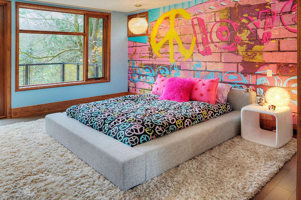 Wall mural brings the charm of brick wall covered in graffiti to the eclectic kids' space [Design: Shouldice Media]