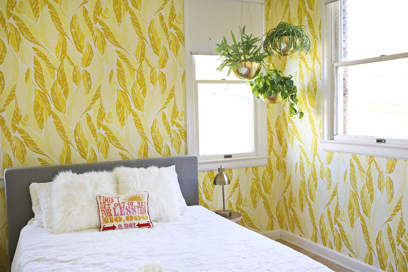 Wallpapered guest room from A Beautiful Mess