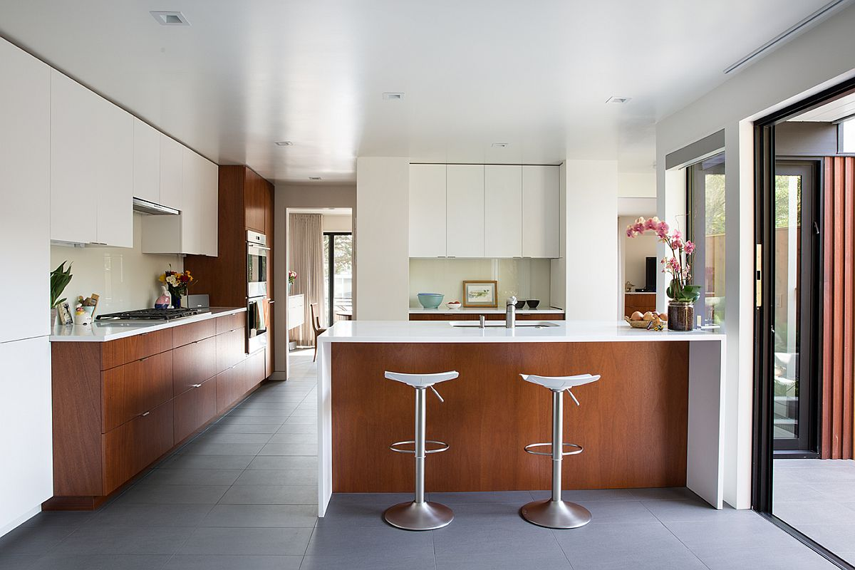 White and mahogany palette of the remodeled Eichler home in California