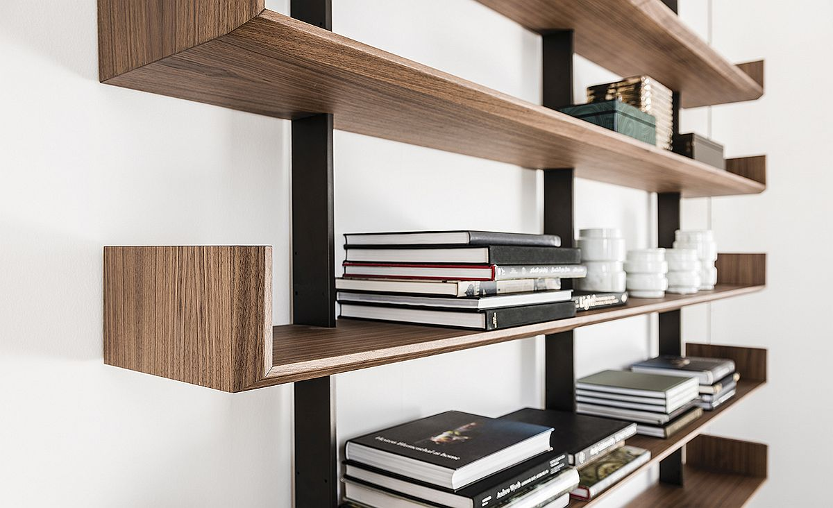 Wooden shelves of Level add visual warmth even while blending in with contemporary and minimal styles