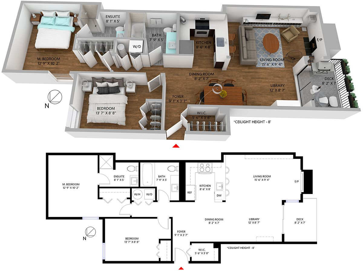 3D floor plan of the apartment available for sale on Nicola Street, Vancouver