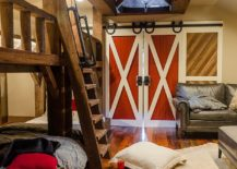 6 bunk beds and maple space create a fabulous kids' space with sliding barn doors