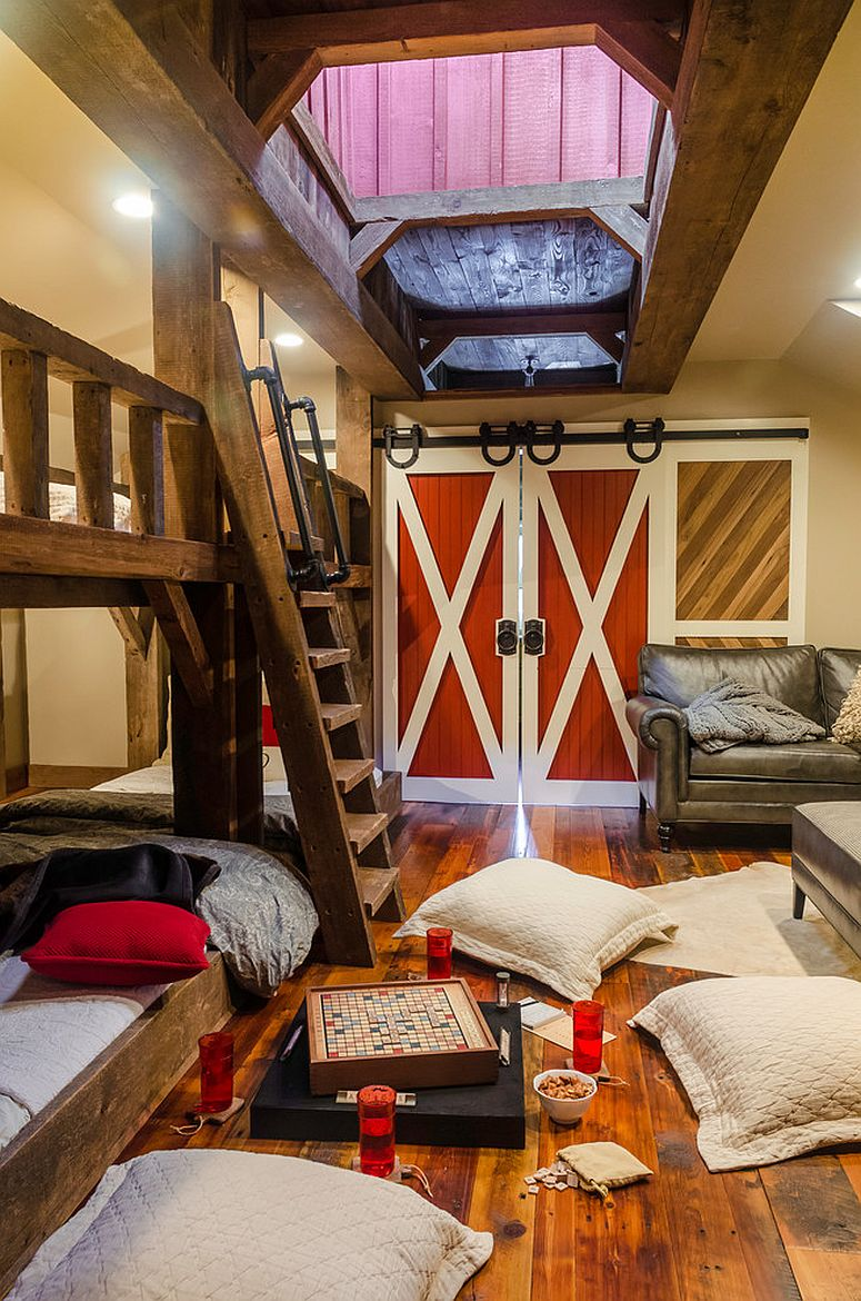 6 bunk beds and maple space create a fabulous kids' space with sliding barn doors [Design: Daniel Contelmo Architects]