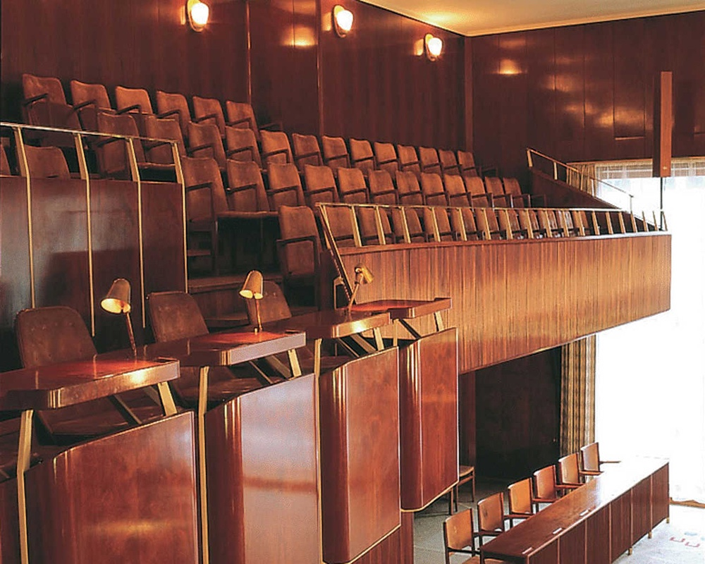 Aarhus City Hall designed by Arne Jacobsen and Erik Møller. Leather and colour both customised.