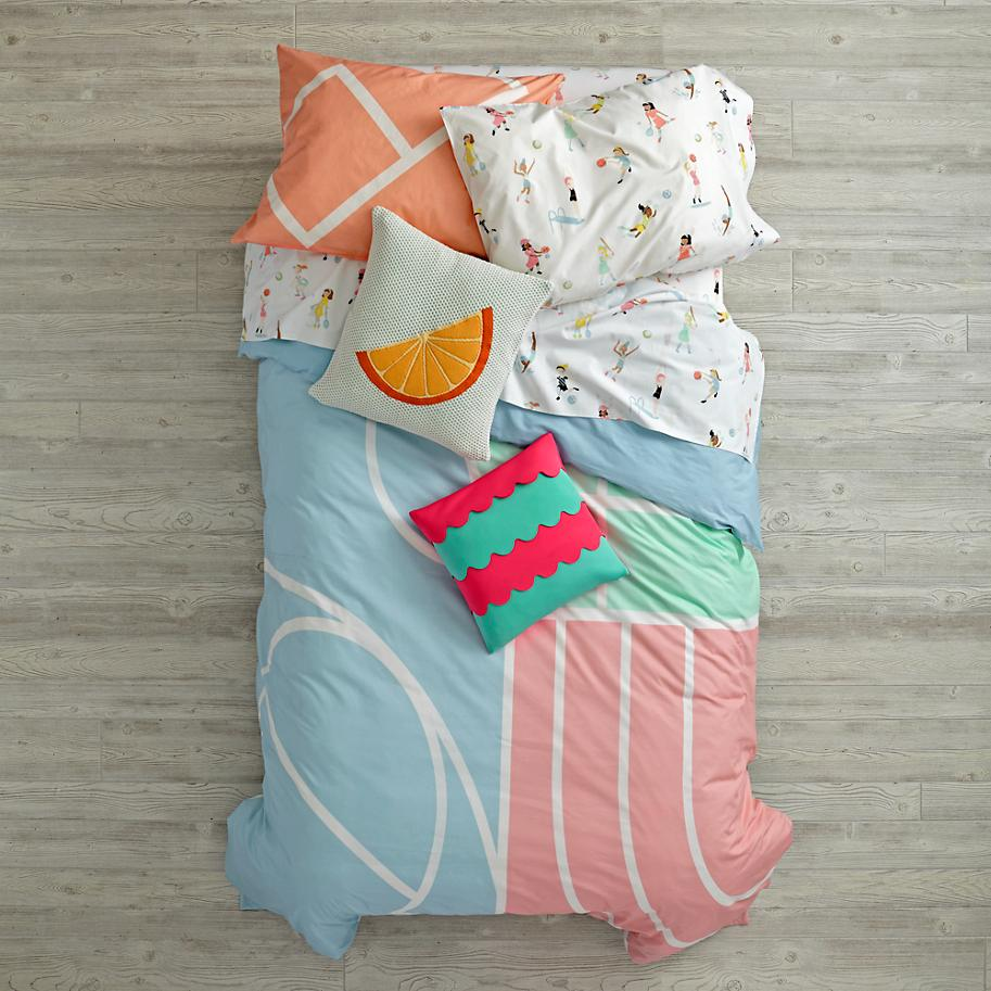 Abstract kids' bedding from The Land of Nod
